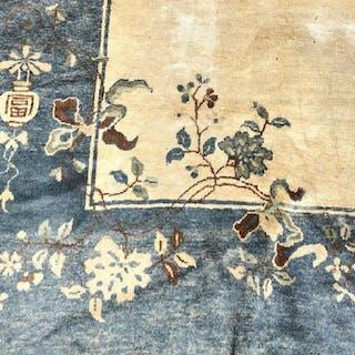 Vintage Chinese Art Deco Handmade Wool Rug