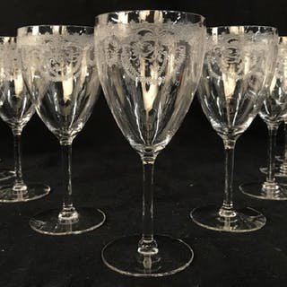 Set 11 Vintage Etched Crystal Wine Glasses