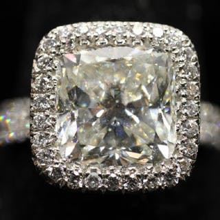 Custom HCR 4 CT Diamond Platinum Ring