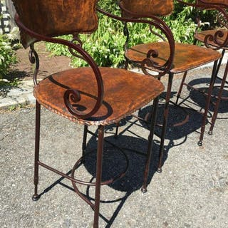 Set 4 ARHAUS Wrought Iron & Leather Bar Stools