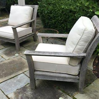 Pair KINGSLEY BATE Teak Club Chairs W Cushions