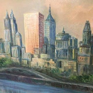 Signed Oil On Canvas, City Skyline