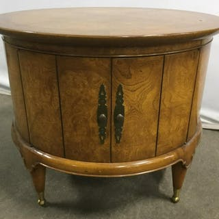Pair Round Cabinet W Parquetry Side Tables
