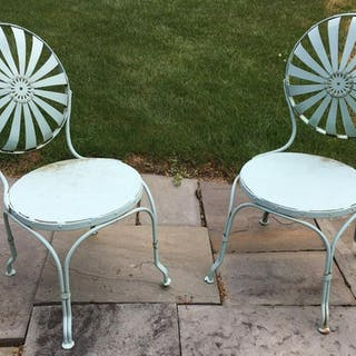 Pair Sea Foam Green Metal Chairs W Openwork Design