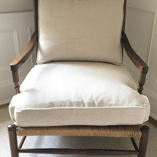 Wood Club Chair With Rushed Seat & Cushions