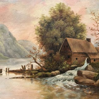 Signed Oil on Board, Hudson River School Painting
