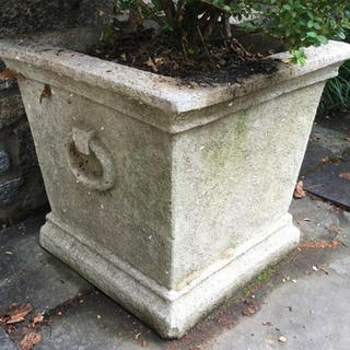 Pair Outdoor Cement Planters