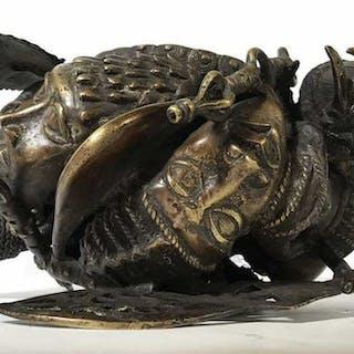 African Art Bronze Benin Currency Sculpture