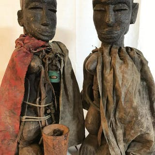 Pair African Art Fon Tribe Wooden Fetish Dolls