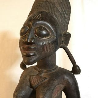 African Art Yoruba Tribe Wood Maternity Sculpture