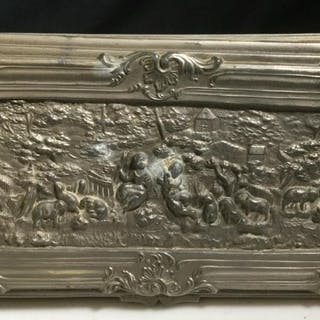 Silver Toned Relief Metal Keepsake Box
