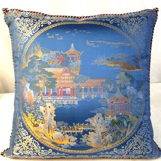Blue Chinese Silk Brocade Scenic Pillow