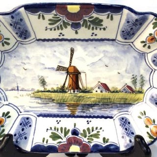 Signed Hand Painted Delft Porcelain Dish