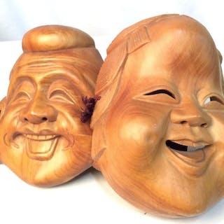 Wooden Buddha Mask Set