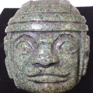 Vintage Carved Stone Of OLMEC Figure Head