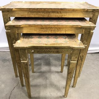Lot 3 Gold Leafed Nesting Tables