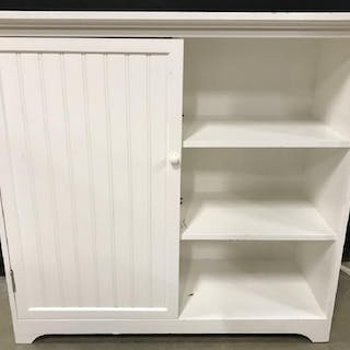 White Toned Wooden Cabinet W Shelves