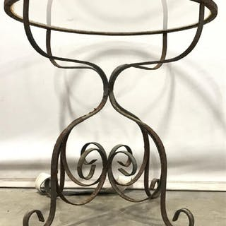Outdoor Metal Side Table W Glass Top