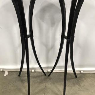 Pair Black Toned Wooden Planter Stands