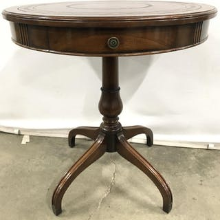 Leather Top Carved Wooden Pedestal Table