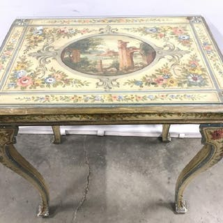 Vintage Floral Detailed Cabriole Leg Wooden Table