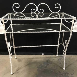 Vintage Metal Side Table W Glass & Mirror Shelves
