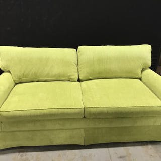 Vibrant Chartreuse Green Skirted Corduroy Couch