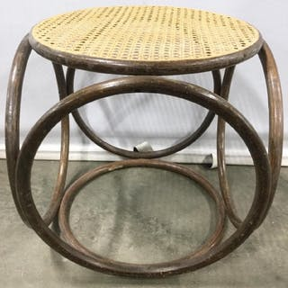 Bent Wood Bench W Caned Seat