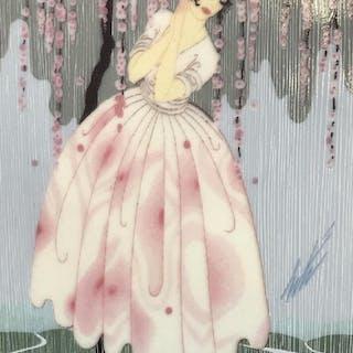 ERTÉ Art Deco Blossoms Umbrella Fine China Plate