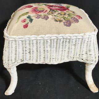 Vintage NEEDLEPOINT Top Wicker Foot Stool