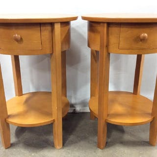 Pair Vintage Round Wooden Side Tables