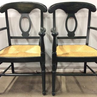 Carved Wooden Italian End Chairs W Rush Seats