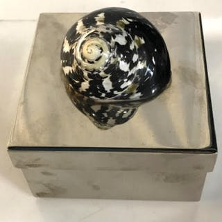 Silver Toned Keepsake Box with Snail Shell Decor