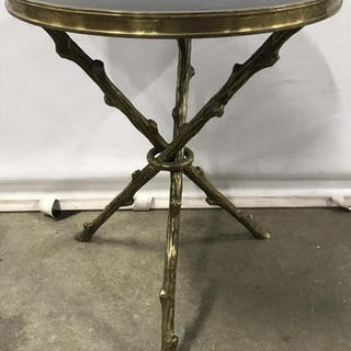 Stone Top & Brass Side Table