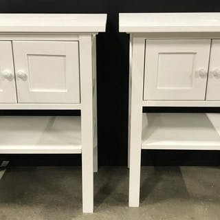 Pair White Toned Wooden Night Tables