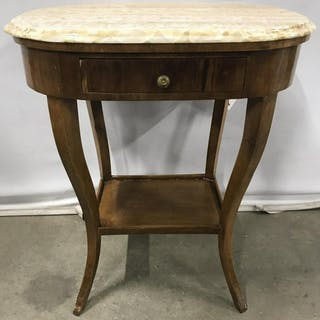 Pair Vintage Marble Top Side Tables W Drawers