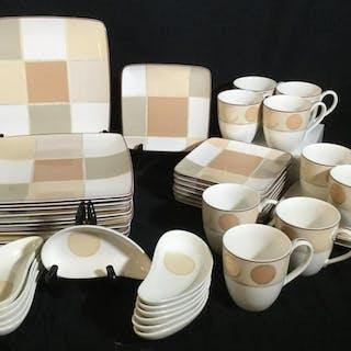 Set 42 Noritake Modern Square Dishes & Mugs