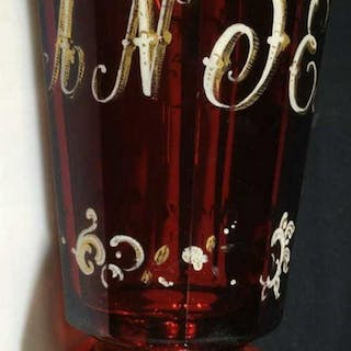 Lot 2 Ruby Red Bohemian Water Glasses