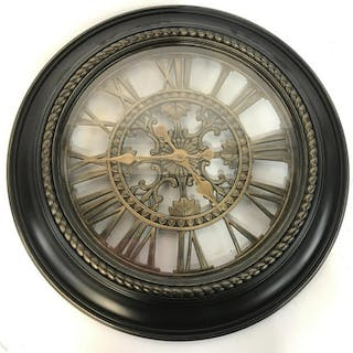 Black & Gold Toned Wall Clock