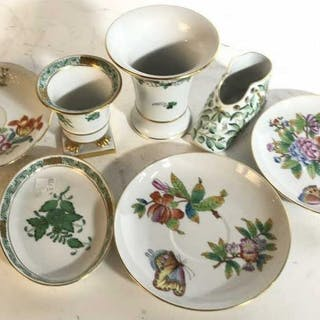 Group Lot 7 HEREND Porcelain Table Ware