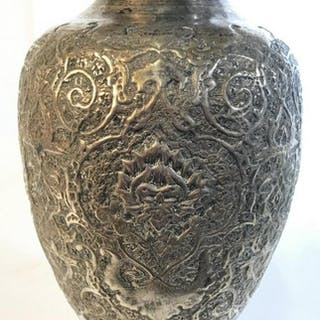 Intricately Etched Silver Tone Vessel Vase