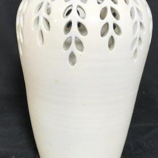 Pierced White Porcelain Vase on Stand