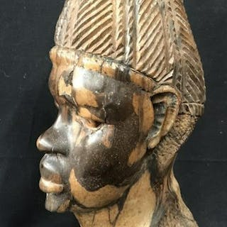 African Wood Carved Sculpture Of Bust