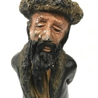 Signed Painted Ceramic Rabbi Sculpture