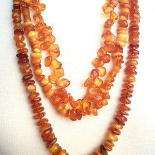 Lot 3 Amber Toned beaded necklaces