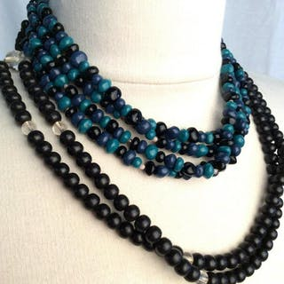 Lot 2 composite material beaded necklaces
