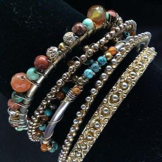 Lot 5 Metal w Glass Beads Bangle Bracelets