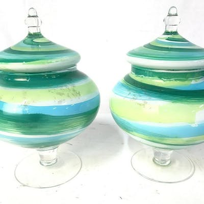 Pair Pedestaled Painted Art Glass W Lids