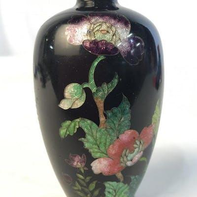 Black Toned Floral Cloisonne Small Bud Vase