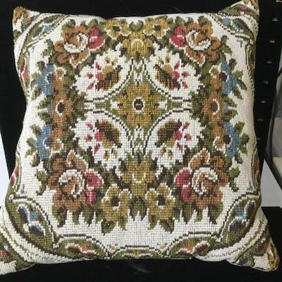 Vintage Floral Fashion Needlepoint Throw Pillow